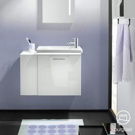 Burgbad Eqio Handwaschbecken mit Waschtischunterschrank mit LED-Beleuchtung mit 1 Klappe mit offenem Fach Front weiß hochglanz / Korpus weiß glanz, Stangengriff chrom