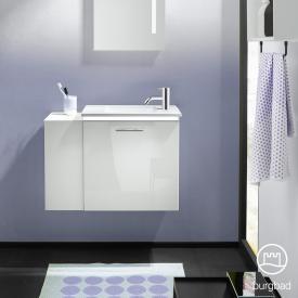 Burgbad Eqio Handwaschbecken mit Waschtischunterschrank mit LED-Beleuchtung mit 1 Klappe mit offenem Fach Front weiß hochglanz/weiß matt / Korpus weiß glanz, Stangengriff chrom
