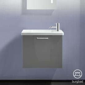 Burgbad Eqio Keramik-Waschtisch mit Waschtischunterschrank mit 1 Klappe Front grau hochglanz / Korpus grau glanz, Stangengriff chrom