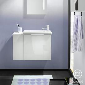 Burgbad Eqio Keramik-Waschtisch mit Waschtischunterschrank mit 1 Klappe mit offenem Fach Front weiß hochglanz / Korpus weiß glanz, Griff chrom