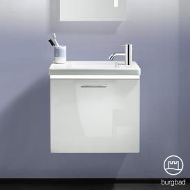 Burgbad Eqio Keramik-Waschtisch mit Waschtischunterschrank mit LED-Beleuchtung mit 1 Klappe Front weiß hochglanz / Korpus weiß glanz, Stangengriff chrom