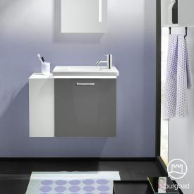Burgbad Eqio Keramik-Waschtisch mit Waschtischunterschrank mit LED-Beleuchtung mit 1 Klappe mit offenem Fach Front grau hochglanz / Korpus grau glanz, Stangengriff chrom