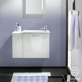 Burgbad Eqio Mineralguss-Waschtisch mit Waschtischunterschrank mit 1 Klappe mit offenem Fach Front weiß hochglanz/weiß matt / Korpus weiß glanz, Stangengriff chrom