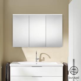 Burgbad Eqio Spiegelschrank mit LED-Beleuchtung mit 3-Türen weiß glänzend, ohne Waschtischbeleuchtung