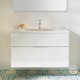 Burgbad Eqio Waschtisch mit Waschtischunterschrank mit 2 Auszügen Front weiß hochglanz / Korpus weiß glanz, Griff chrom