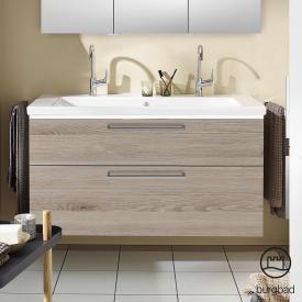 Burgbad Eqio Doppelwaschtisch mit Waschtischunterschrank mit LED-Beleuchtung mit 2 Auszügen Front eiche flanell dekor / Korpus eiche flanell dekor, Stangengriff chrom