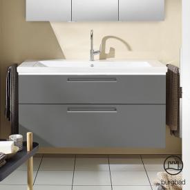 Burgbad Eqio Waschtisch mit Waschtischunterschrank mit LED-Beleuchtung mit 2 Auszügen Front grau hochglanz / Korpus grau glanz, Stangengriff chrom