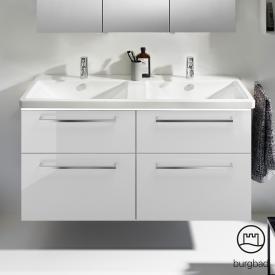 Burgbad Eqio Doppel-Waschtisch mit Waschtischunterschrank mit LED-Beleuchtung mit 4 Auszügen Front weiß hochglanz / Korpus weiß glanz, Stangengriff chrom