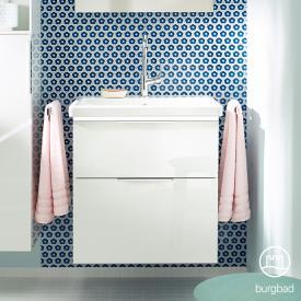 Burgbad Eqio Waschtisch mit Waschtischunterschrank mit LED-Beleuchtung mit 2 Auszügen Front weiß hochglanz / Korpus weiß glanz, Griff chrom