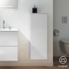 Burgbad Essence Halbhoher Schrank mit 1 Tür Front weiß hochglanz/Korpus weiß hochglanz