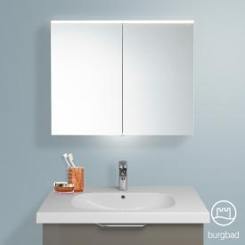 Burgbad Euro Spiegelschrank mit LED-Beleuchtung und 2 Türen grau hochglanz