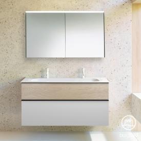Burgbad Fiumo Badmöbel-Set Doppelwaschtisch mit Waschtischunterschrank und Spiegelschrank Front weiß matt/eiche cashmere dekor / Korpus weiß matt, Griffleiste schwarz matt