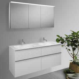 Burgbad Fiumo Badmöbel-Set Doppelwaschtisch mit Waschtischunterschrank und Spiegelschrank Front weiß matt / Korpus weiß matt, Griffleiste chrom