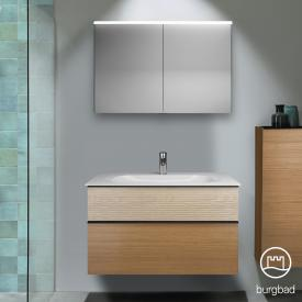 Burgbad Fiumo Badmöbel-Set Mineralguss-Waschtisch mit Waschtischunterschrank und Spiegelschrank Front tectona zimt dekor/eiche cashmere dekor / Korpus tectona zimt dekor