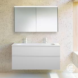 Burgbad Fiumo Badmöbel-Set Mineralguss-Waschtisch mit Waschtischunterschrank und Spiegelschrank Front weiß matt / Korpus weiß matt