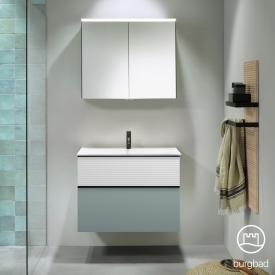 Burgbad Fiumo Badmöbel-Set Mineralguss-Waschtisch mit Waschtischunterschrank und Spiegelschrank Front eisblau softmatt/weiß matt / Korpus eisblau softmatt