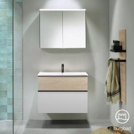 Burgbad Fiumo Badmöbel-Set Mineralguss-Waschtisch mit Waschtischunterschrank und Spiegelschrank Front weiß matt/eiche cashmere dekor / Korpus weiß matt