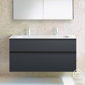 Burgbad Fiumo Doppelwaschtisch mit Waschtischunterschrank mit 2 Auszügen Front graphit softmatt / Korpus graphit softmatt, Griffleiste schwarz matt