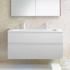 Burgbad Fiumo Doppelwaschtisch mit Waschtischunterschrank mit 2 Auszügen Front weiß matt / Korpus weiß matt, Griffleiste weiß matt