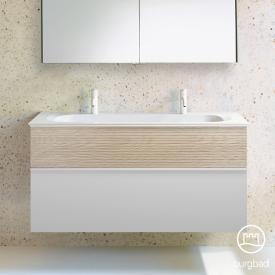 Burgbad Fiumo Doppelwaschtisch mit Waschtischunterschrank mit 2 Auszügen Front weiß matt/eiche cashmere dekor / Korpus weiß matt