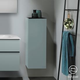 Burgbad Fiumo Halbhoher Schrank mit 1 Tür Front eisblau softmatt / Korpus eisblau softmatt