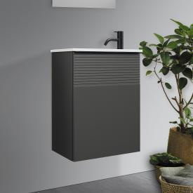 Burgbad Fiumo Handwaschbecken mit Waschtischunterschrank mit 1 Tür Front graphit softmatt / Korpus graphit softmatt, Griffleiste schwarz matt