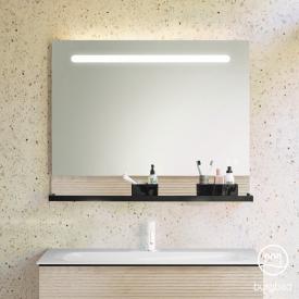 Burgbad Fiumo Leuchtspiegel mit horizontaler LED-Beleuchtung Front verspiegelt / Korpus eiche cashmere dekor