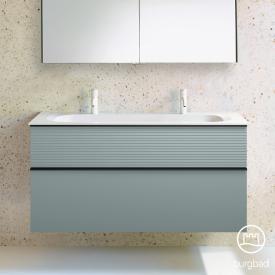 Burgbad Fiumo Mineralguss-Waschtisch inkl. Waschtischunterschrank, 2 Auszüge, Waschtisch weiß Front eisblau softmatt / Korpus eisblau softmatt