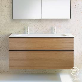 Burgbad Fiumo Mineralguss-Waschtisch inkl. Waschtischunterschrank, 2 Auszüge, Waschtisch weiß Front tectona zimt dekor / Korpus tectona zimt dekor