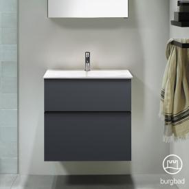 Burgbad Fiumo Mineralguss-Waschtisch inkl. Waschtischunterschrank, 2 Auszüge, Waschtisch weiß Front graphit softmatt / Korpus graphit softmatt