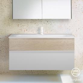 Burgbad Fiumo Waschtisch mit Waschtischunterschrank mit 2 Auszügen Front weiß matt/eiche cashmere dekor / Korpus weiß matt
