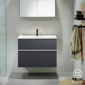 Burgbad Fiumo Waschtisch mit Waschtischunterschrank mit 2 Auszügen Front graphit softmatt / Korpus graphit softmatt, Griffleiste weiß matt