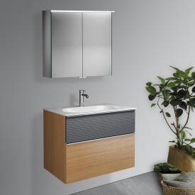 Burgbad Fiumo Badmöbel-Set Waschtisch mit Waschtischunterschrank und Spiegelschrank Front tectona zimt dekor/graphit softmatt / Korpus tectona zimt dekor, Griffleiste chrom