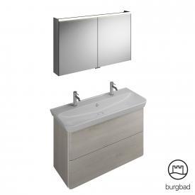 Burgbad Iveo Waschtisch mit Waschtischunterschrank und Spiegelschrank Front eiche merino dekor / Korpus eiche merino dekor