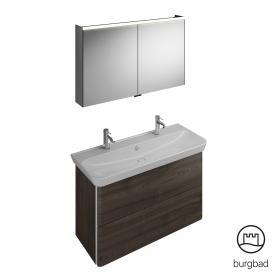 Burgbad Iveo Waschtisch mit Waschtischunterschrank und Spiegelschrank Front marone trüffel dekor / Korpus marone trüffel dekor
