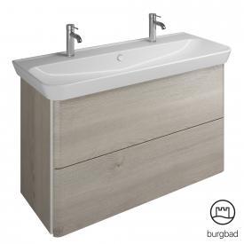 Burgbad Iveo Doppelwaschtisch mit Waschtischunterschrank mit 2 Auszügen Front eiche flanelle dekor / Korpus eiche flanelle dekor