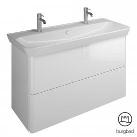 Burgbad Iveo Doppelwaschtisch mit Waschtischunterschrank mit 2 Auszügen Front weiß hochglanz / Korpus weiß hochglanz