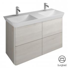 Burgbad Iveo Doppelwaschtisch mit Waschtischunterschrank mit 4 Auszügen Front eiche merino dekor / Korpus eiche merino dekor