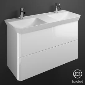 Burgbad Iveo Doppelwaschtisch mit Waschtischunterschrank mit LED-Beleuchtung mit 2 Auszügen Front weiß hochglanz / Korpus weiß hochglanz