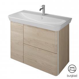 Burgbad Iveo Keramik-Waschtisch mit Waschtischunterschrank mit 2 Auszügen und 1 Tür Front eiche cashmere dekor / Korpus eiche cashmere dekor