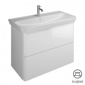 Burgbad Iveo Keramik-Waschtisch mit Waschtischunterschrank mit 2 Auszügen Front weiß hochglanz / Korpus weiß hochglanz