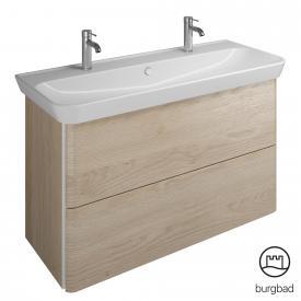 Burgbad Iveo Keramik-Waschtisch mit Waschtischunterschrank mit 2 Auszügen Front eiche cashmere dekor / Korpus eiche cashmere dekor