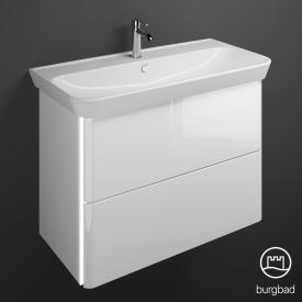 Burgbad Iveo Keramik-Waschtisch mit Waschtischunterschrank mit LED-Beleuchtung mit 2 Auszügen Front weiß hochglanz / Korpus weiß hochglanz