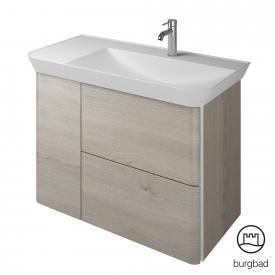 Burgbad Iveo Mineralguss-Waschtisch mit Waschtischunterschrank mit 2 Auszügen und 1 Tür Front eiche flanelle dekor / Korpus eiche flanelle dekor