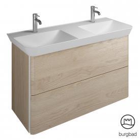 Burgbad Iveo Mineralguss-Waschtisch mit Waschtischunterschrank mit 2 Auszügen Front eiche cashmere dekor / Korpus eiche cashmere dekor