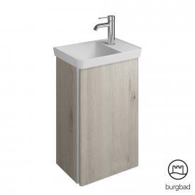 Burgbad Iveo Mineralguss-Waschtisch mit Waschtischunterschrank mit 1 Tür Front eiche flanell dekor / Korpus eiche flanell dekor