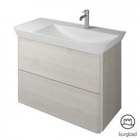 Burgbad Iveo Mineralguss-Waschtisch mit Waschtischunterschrank mit 2 Auszügen Front eiche merino dekor / Korpus eiche merino dekor