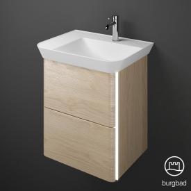 Burgbad Iveo Mineralguss-Waschtisch mit Waschtischunterschrank mit LED-Beleuchtung mit 2 Auszügen Front eiche cashmere dekor / Korpus eiche cashmere dekor
