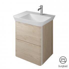 Burgbad Iveo Waschtisch mit Waschtischunterschrank mit 2 Auszügen Front eiche cashmere dekor / Korpus eiche cashmere dekor