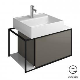 Burgbad Junit Aufsatzwaschtisch mit Waschtischunterschrank mit 1 Auszug Front grau hochglanz / Korpus grau hochglanz
